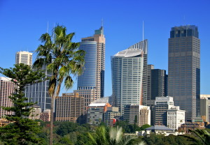 A view of Sydney's skyline from the Royal Botanical Garden. 30.07.12